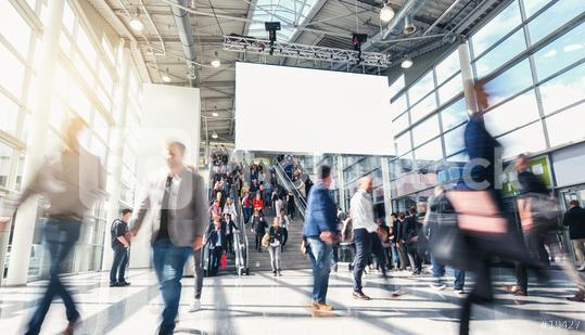 Messe Werbeplakat mit Textfreiraum in Menschenmenge bei Veranstaltung  : Stock Photo or Stock Video Download rcfotostock photos, images and assets rcfotostock | RC-Photo-Stock.: