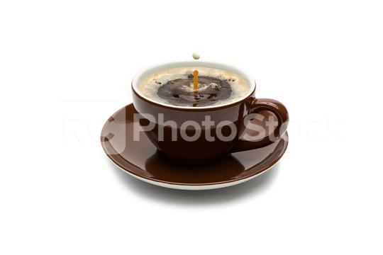 Milk drop falling in a coffee cup  : Stock Photo or Stock Video Download rcfotostock photos, images and assets rcfotostock | RC-Photo-Stock.: