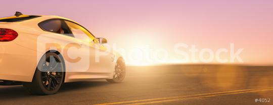 Modern car from behind at the street on sunset, copyspace for your individual text.  : Stock Photo or Stock Video Download rcfotostock photos, images and assets rcfotostock | RC-Photo-Stock.:
