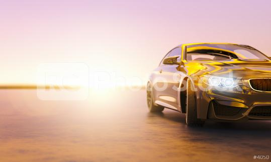 Modern sports car at the street on sunset, copyspace for your individual text.  : Stock Photo or Stock Video Download rcfotostock photos, images and assets rcfotostock | RC-Photo-Stock.: