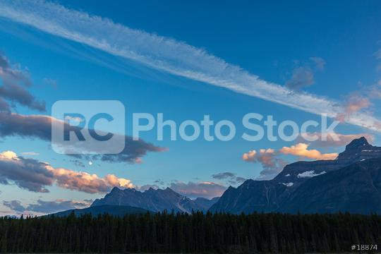 Moonrise an sunset at Rocky mountains in the banff national park  : Stock Photo or Stock Video Download rcfotostock photos, images and assets rcfotostock | RC-Photo-Stock.: