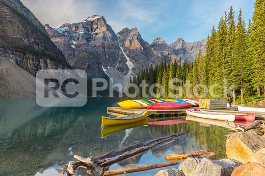 Moraine Lake and boat with snow capped mountain of Banff National Park in canada  : Stock Photo or Stock Video Download rcfotostock photos, images and assets rcfotostock | RC-Photo-Stock.: