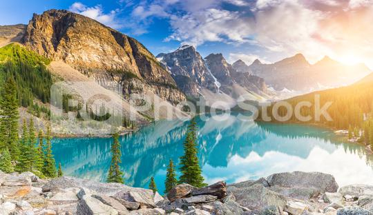 Moraine Lake during summer in Banff National Park panorma, Canadian Rockies, Alberta, Canada  : Stock Photo or Stock Video Download rcfotostock photos, images and assets rcfotostock | RC-Photo-Stock.: