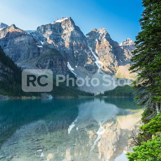 Moraine Lake in the morning at Sunrise in banff canada  : Stock Photo or Stock Video Download rcfotostock photos, images and assets rcfotostock | RC-Photo-Stock.: