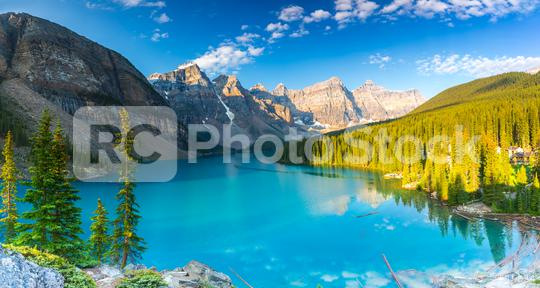 Moraine lake panorama in Banff National Park, Alberta, Canada   : Stock Photo or Stock Video Download rcfotostock photos, images and assets rcfotostock | RC-Photo-Stock.: