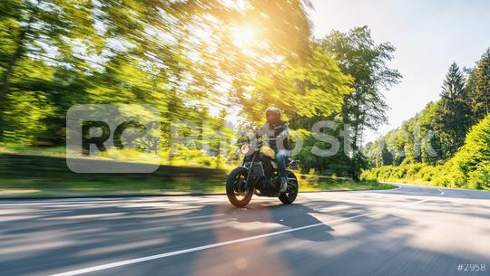 motorbike on the highway riding. having fun driving the empty road on a motorcycle tour. copyspace for your individual text.  : Stock Photo or Stock Video Download rcfotostock photos, images and assets rcfotostock | RC-Photo-Stock.: