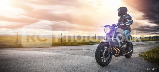 motorbike on the road riding. having fun riding the empty road on a motorcycle tour / journey  : Stock Photo or Stock Video Download rcfotostock photos, images and assets rcfotostock   RC-Photo-Stock.: