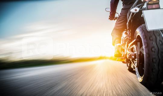 motorbike on the road riding. having fun riding the empty road on a motorycle tour / journey  : Stock Photo or Stock Video Download rcfotostock photos, images and assets rcfotostock | RC-Photo-Stock.: