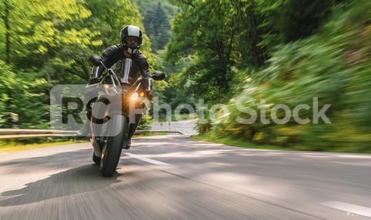 motorbike riding on the forest country road. driving on the empty road on a motorcycle tour. copyspace for your individual text.  : Stock Photo or Stock Video Download rcfotostock photos, images and assets rcfotostock | RC-Photo-Stock.: