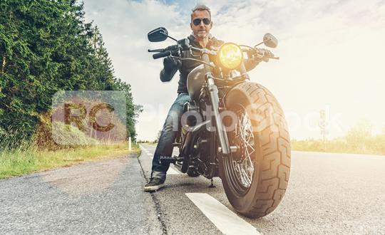 motorbiker parking on the road right side and sunset. ready to a motorcycle tour journey.   : Stock Photo or Stock Video Download rcfotostock photos, images and assets rcfotostock | RC-Photo-Stock.: