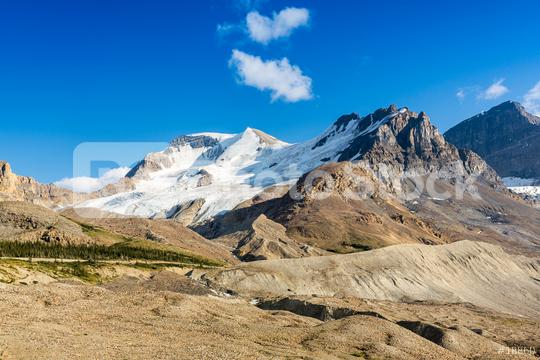 Mount Andromeda, Mount Athabasca and on the right the Athabasca Glacier in the Columbia Icefields in Jasper national Park, Alberta, Canada at the end of May  : Stock Photo or Stock Video Download rcfotostock photos, images and assets rcfotostock   RC-Photo-Stock.: