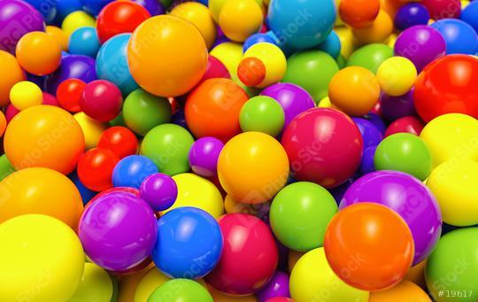 Multi-colored plastic balls in a children