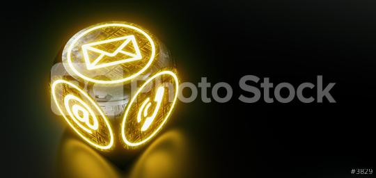 Neon Hotline support contact on cube on dark background  : Stock Photo or Stock Video Download rcfotostock photos, images and assets rcfotostock   RC-Photo-Stock.: