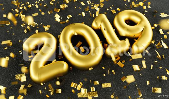 New year 2019 celebration. Gold numeral 2019 and confetti on black luxery background. New Year