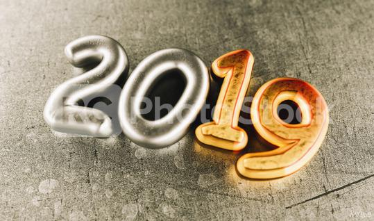 New year 2019 celebration. Silver numeral 2019 and Copper mettalic background. New Year