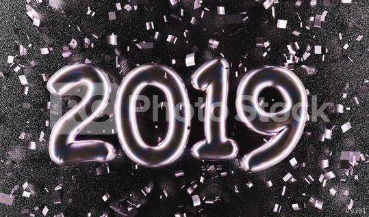 New year 2019 celebration. Silver Purple metallic numeral 2019 and confetti on black luxery background. New Year