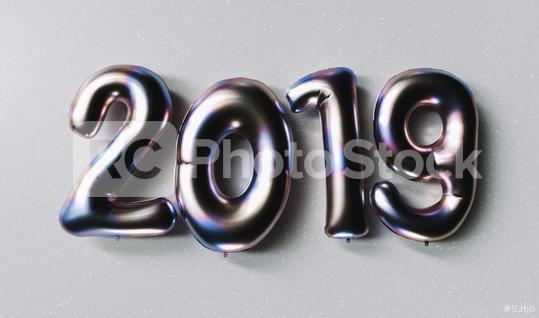 New year 2019 celebration. Silver Purple metallic numeral 2019 on gray background. New Year
