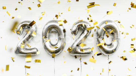 New year 2020 celebration. silver foil balloons numeral 2020 and confetti on blue background  : Stock Photo or Stock Video Download rcfotostock photos, images and assets rcfotostock | RC-Photo-Stock.: