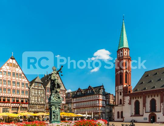 old town square romerberg with Justitia statue in Frankfurt, Germany  : Stock Photo or Stock Video Download rcfotostock photos, images and assets rcfotostock | RC-Photo-Stock.: