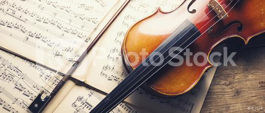 old violin and notes, banner size  : Stock Photo or Stock Video Download rcfotostock photos, images and assets rcfotostock | RC-Photo-Stock.: