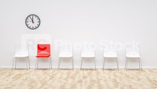 one red chair between white chairs in the waiting room - 3D Rendering  : Stock Photo or Stock Video Download rcfotostock photos, images and assets rcfotostock | RC-Photo-Stock.: