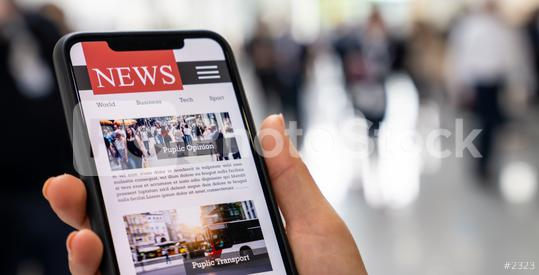 Online news on a mobile smartphone. Close up of businesswoman reading news or articles in a smartphone screen application. Hand holding smart device. Mockup website. Newspaper and portal on internet.  : Stock Photo or Stock Video Download rcfotostock photos, images and assets rcfotostock   RC-Photo-Stock.: