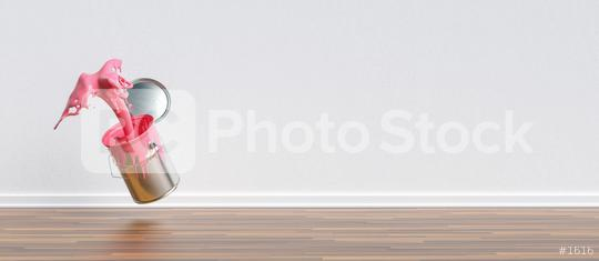 paint can splashing pink color in a apartment with wall and copy space for individual text, renovation concept image  : Stock Photo or Stock Video Download rcfotostock photos, images and assets rcfotostock | RC-Photo-Stock.: