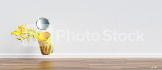 paint can splashing yellow color in a apartment with wall and copy space for individual text, renovation concept image  : Stock Photo or Stock Video Download rcfotostock photos, images and assets rcfotostock   RC-Photo-Stock.: