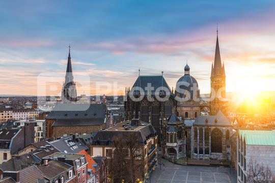 Panorama Aachen Stadtbild mit Dom und Rauthaus, Dreiländereck  : Stock Photo or Stock Video Download rcfotostock photos, images and assets rcfotostock | RC-Photo-Stock.: