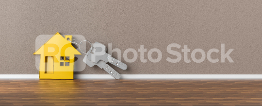 Panorama of keys with yellow house leaning on wall as mortgage financing concept, copyspace for your individual text.  : Stock Photo or Stock Video Download rcfotostock photos, images and assets rcfotostock   RC-Photo-Stock.: