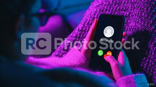 Phone call from no caller id late at night. Scam, fraud or phishing with smartphone concept. Prank caller, scammer or stranger. Woman answering to incoming call. Hoax person with fake identity.  : Stock Photo or Stock Video Download rcfotostock photos, images and assets rcfotostock   RC-Photo-Stock.: