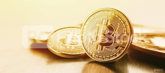 Photo Golden Bitcoins (new virtual money )  : Stock Photo or Stock Video Download rcfotostock photos, images and assets rcfotostock | RC-Photo-Stock.: