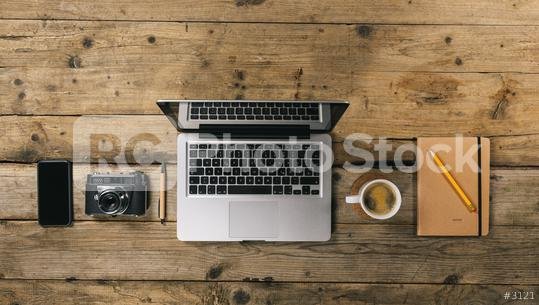 Photographer office desk with laptop, silver notebook, mobile phone, pen, camera and coffee cup, flat lay. Top view with copyspace for your individual text.  : Stock Photo or Stock Video Download rcfotostock photos, images and assets rcfotostock | RC-Photo-Stock.: