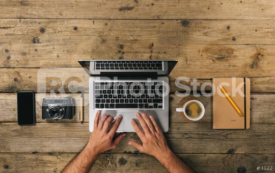 Photographer working at office desk with laptop, silver notebook, mobile phone, pen, camera and coffee cup, flat lay. Top view with copyspace for your individual text.  : Stock Photo or Stock Video Download rcfotostock photos, images and assets rcfotostock | RC-Photo-Stock.: