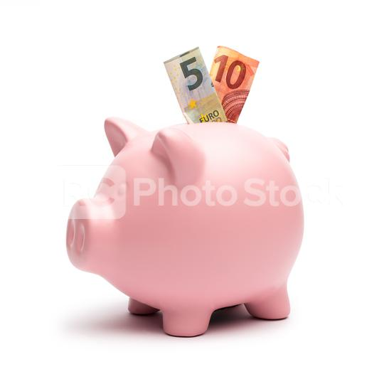 Piggy Bank with a 5 and 10 euro note on white  : Stock Photo or Stock Video Download rcfotostock photos, images and assets rcfotostock | RC-Photo-Stock.: