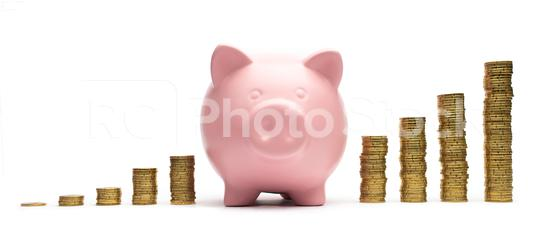 Piggy Bank with stacked coins. Isolated on white background  : Stock Photo or Stock Video Download rcfotostock photos, images and assets rcfotostock | RC-Photo-Stock.: