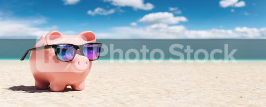 Piggy Bank With Sunglasses On The Beach Holiday. copyspace for your individual text.  : Stock Photo or Stock Video Download rcfotostock photos, images and assets rcfotostock | RC-Photo-Stock.: