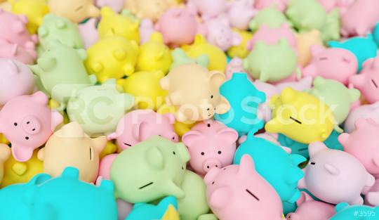 pile of pastel piggy banks, investment and development concept  : Stock Photo or Stock Video Download rcfotostock photos, images and assets rcfotostock | RC-Photo-Stock.: