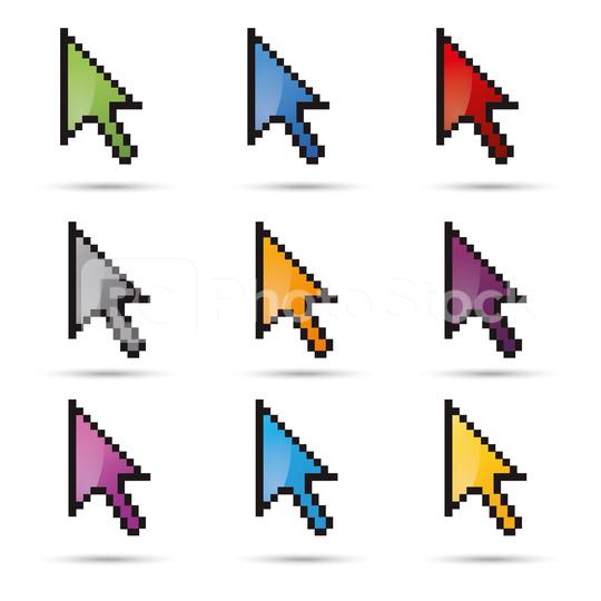 pixel cursor vector icon set 3d, ok symbol in different colors on white background. Vector illustration. Eps 10 vector file.  : Stock Photo or Stock Video Download rcfotostock photos, images and assets rcfotostock   RC-Photo-Stock.: