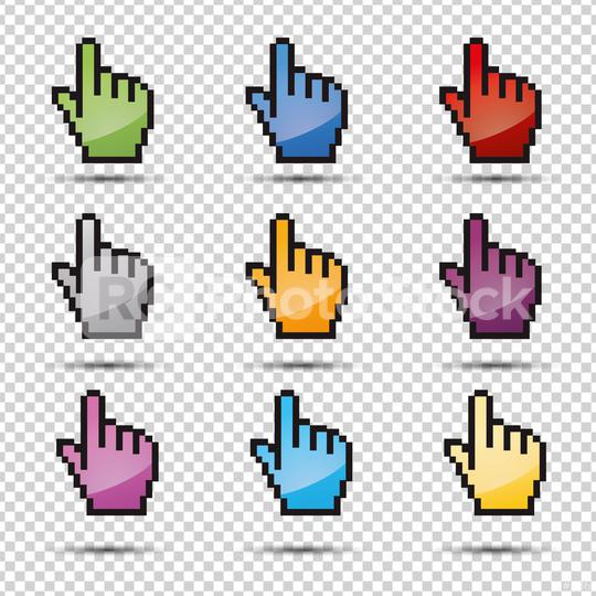 pixel hand vector icon set 3d, ok symbol in different colors on checked transparent background. Vector illustration. Eps 10 vector file.  : Stock Photo or Stock Video Download rcfotostock photos, images and assets rcfotostock | RC-Photo-Stock.: