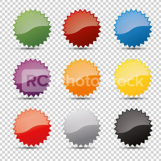 Promo sale badges in different colors or starburst stickers icons, for logo isolated design on checked transparent background, copy space for individual text. Vector illustration. Eps 10 vector file.  : Stock Photo or Stock Video Download rcfotostock photos, images and assets rcfotostock | RC-Photo-Stock.: