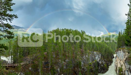 Rainbow at the Sunwapta falss and canyon in jasper canada  : Stock Photo or Stock Video Download rcfotostock photos, images and assets rcfotostock | RC-Photo-Stock.: