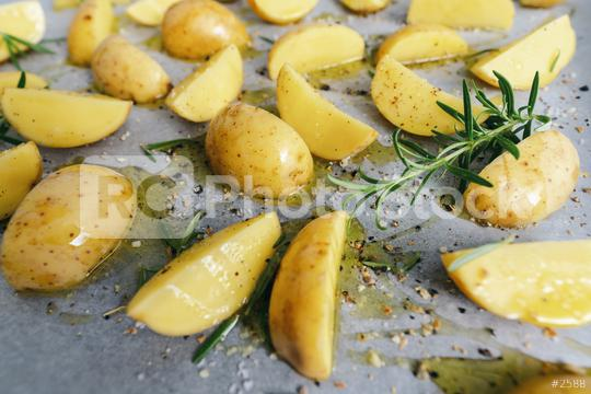 raw potato wedges with oil on baking tray   : Stock Photo or Stock Video Download rcfotostock photos, images and assets rcfotostock   RC-Photo-Stock.: