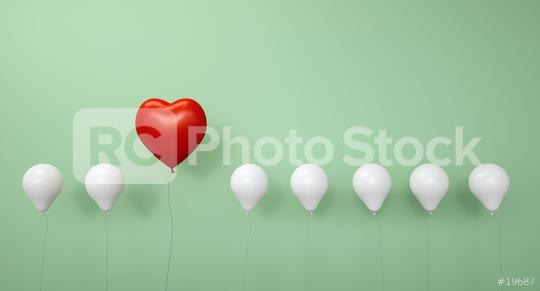 Red heart balloon in a row against a green wall - 3D Rendering  : Stock Photo or Stock Video Download rcfotostock photos, images and assets rcfotostock | RC-Photo-Stock.: