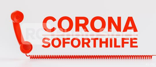 Red telephone Corona emergency help hotline with german text Corona Soforthilfe  : Stock Photo or Stock Video Download rcfotostock photos, images and assets rcfotostock | RC-Photo-Stock.: