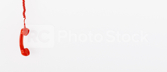 red telephone receiver with copy space for individual text against a white background, banner size  : Stock Photo or Stock Video Download rcfotostock photos, images and assets rcfotostock | RC-Photo-Stock.: