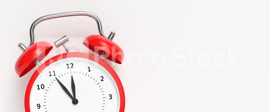 Red vintage alarm clock point to five minutes to twelve o  : Stock Photo or Stock Video Download rcfotostock photos, images and assets rcfotostock | RC-Photo-Stock.: