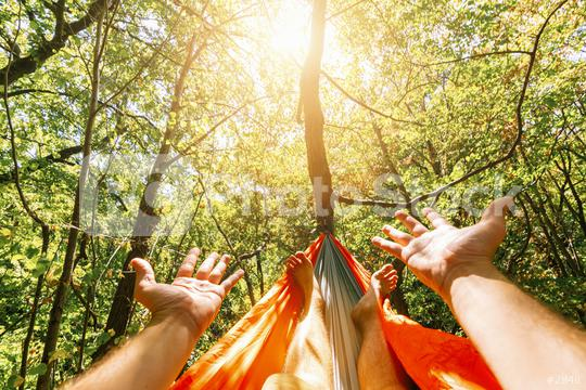 relaxing in the hammock at summer  : Stock Photo or Stock Video Download rcfotostock photos, images and assets rcfotostock | RC-Photo-Stock.: