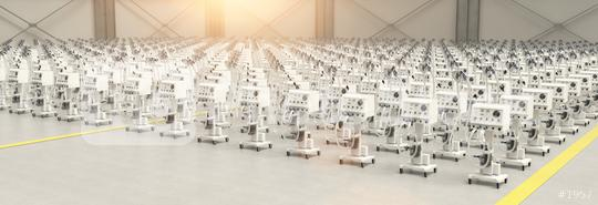 Respirators and respirators in a factory warehouse after production due to Coronavirus and Covid-19 epidemic  : Stock Photo or Stock Video Download rcfotostock photos, images and assets rcfotostock | RC-Photo-Stock.: