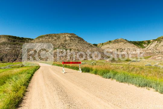 road closed at the drumheller badlands   : Stock Photo or Stock Video Download rcfotostock photos, images and assets rcfotostock | RC-Photo-Stock.:
